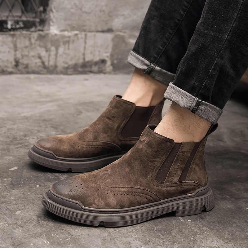 Erkek eğlence brogue chelsea çizmeler kovboy hakiki deri ayakkabı açık platform çöl önyükleme ayak bileği botas zapatos de hombre botine