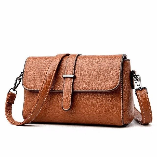 2019 النساء حقائب يد جلدية عالية الجودة Sac أكياس Crossbody للنساء الجلود حقيبة ساع خمر جلدية رفرف حقيبة جديد