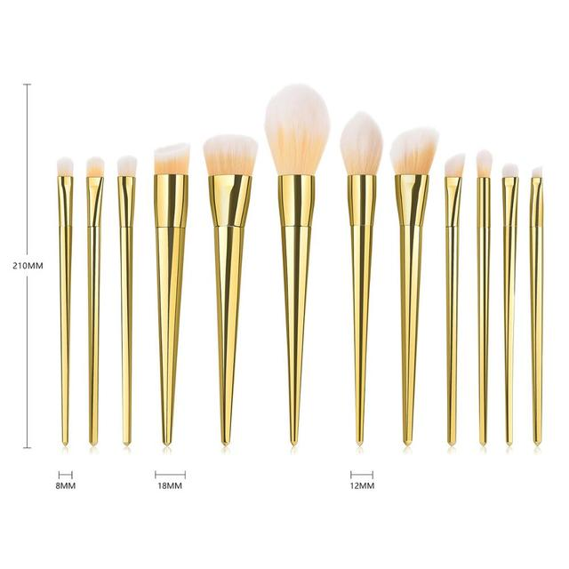 7/12pc Rose Gold Makeup Brushes Set tool for Eyeshadow Eyebrow Fundation Powder Concealer Blush Long handle Makeup maquiagem 2