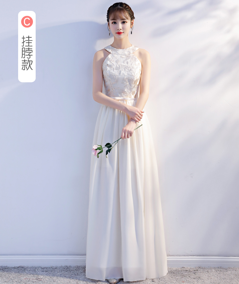 Halter Long Chiffon Dress Embroidery For Wedding Party For Woman Vestido De Festa Longo Red Bridesmaid Dress Champagne A-Line