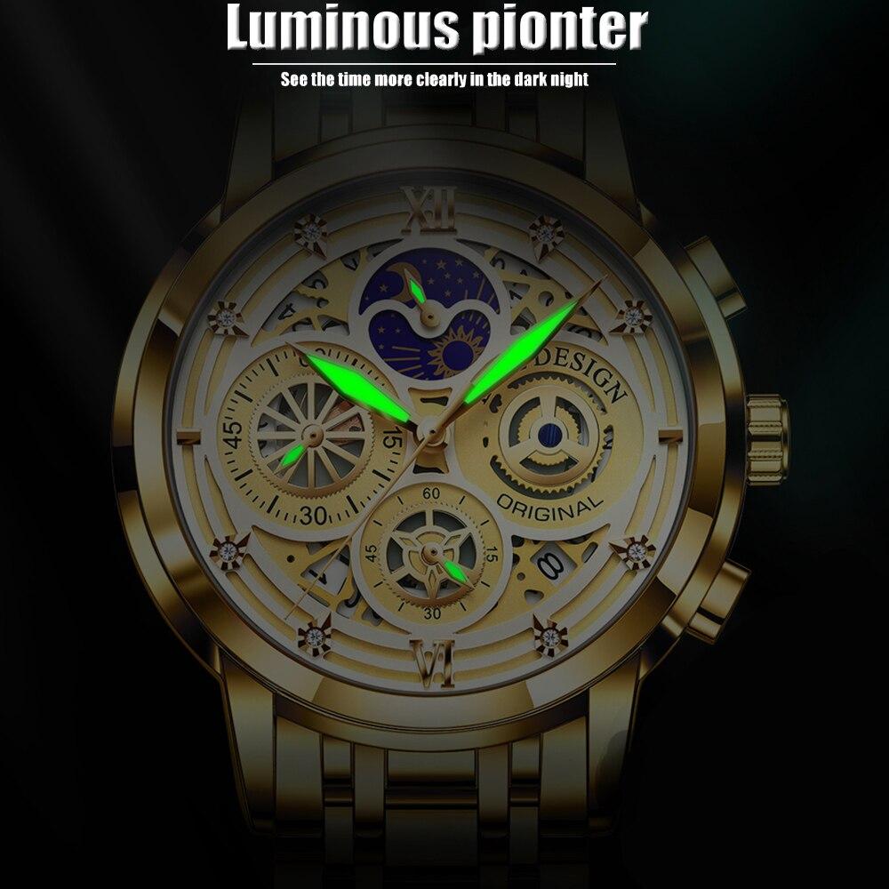 2021 Nieuwe Luik Sport Mannen Horloge Top Brand Luxe Goud Roestvrij Staal Quartz Wrsit Horloge Mannen Mode Holle Waterdicht Chronograaf 4