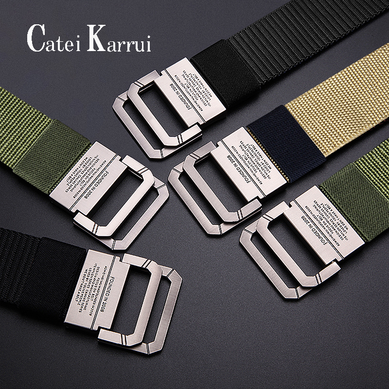 Catei Karrui Breathable Military Tactical Belt Alloy Metal Buckle Adjustable Outdoor Soldier Training Hunting Waist Belt For Men