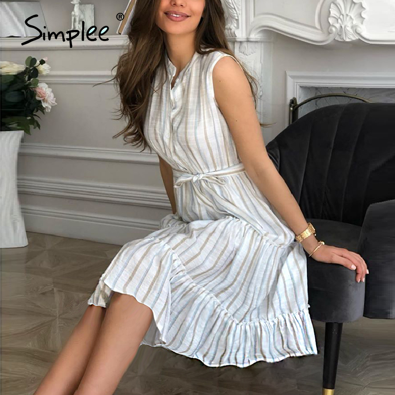 Simplee Women Striped Summer Dress Sexy Sleeveless Sash Single Breasted Beach Dress Casual Ladies Belt Ruffled Loose Maxi Dress