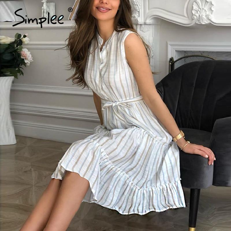 Simplee Women Striped Summer Dress Sexy Sleeveless Sash Single Breasted Beach Dress Casual Ladies Belt Ruffled Loose Maxi Dress