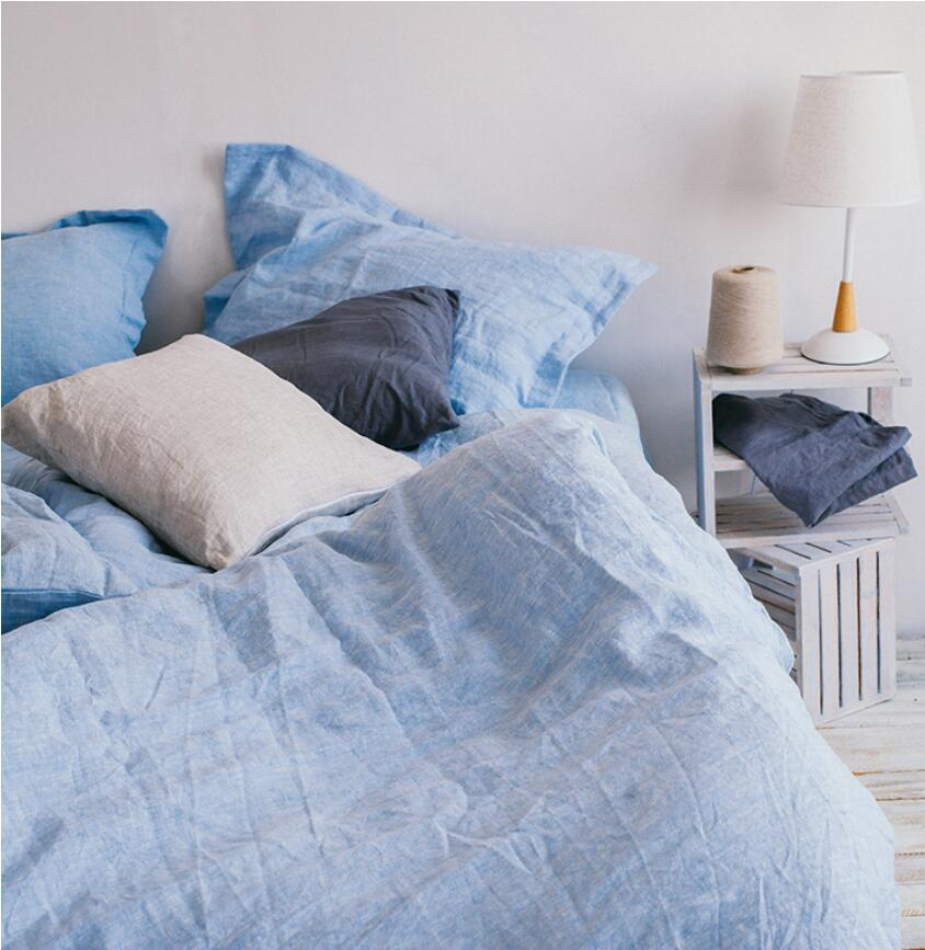 100% linho céu azul água esfregando fio tingido luxuoso customizável tamanho 4 pçs conjuntos de cama hotel americano
