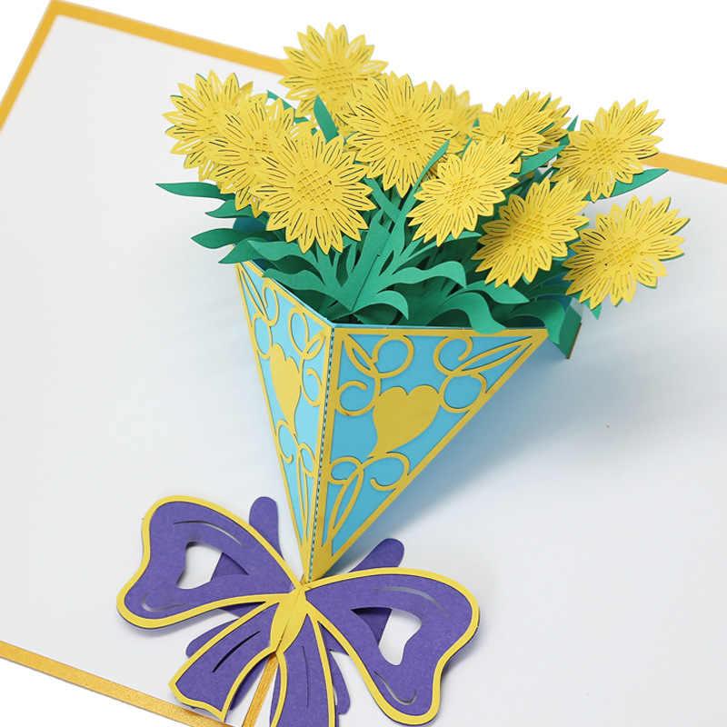 Fabricantes de Abastecimento de Dia do Professor Girassol 3D escavar Os Professores cartão Cartões Bênção Cartão Artesanal de Papel Da Arte