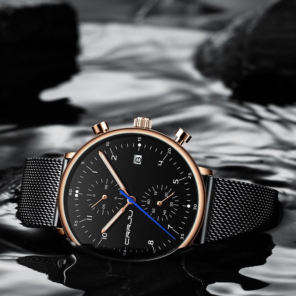Image 4 - Mens Watch 2019 CRRJU Luxury Men Stainless Steel WristWatch Mens Military Full Steel Date Quartz watches relogio masculinoQuartz Watches   -
