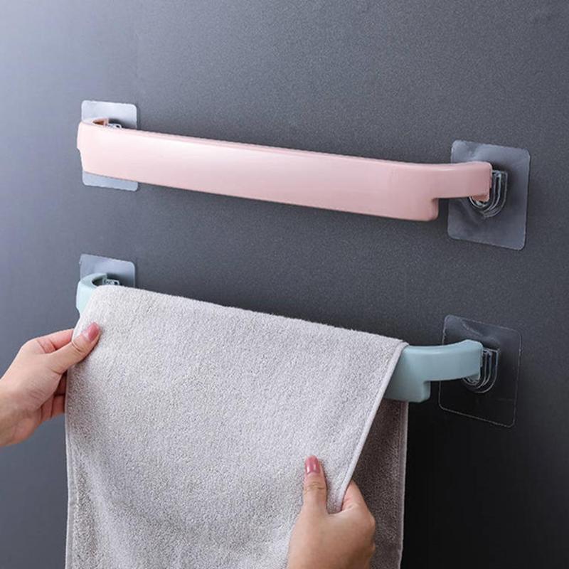 Useful Plastic Wall Mounted Bathroom Towel Bar Shelf Self-adhesive Rack Holder Toilet Roll Paper Hanging Hanger Bathroom Supply