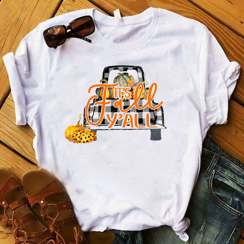 Women T Womens Graphic Pumpkin Truck Plaid Thanksgiving Halloween Fall Y'all Top Tshirt Female Tee Shirt Ladies Clothes T-shirt