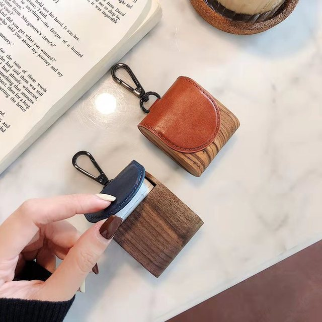For apple airpods 1/2 case high quality wood pu leather 4 colors bluetooth wireless earphone cover