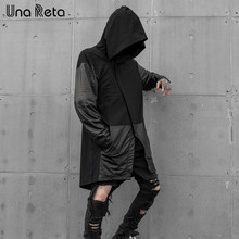 Una Reta Trench coat Men New Fashion PU leather stitching Windbreaker Male Casual Outwear Hip Hop Streetwear Hooded Cloak Coats(China)