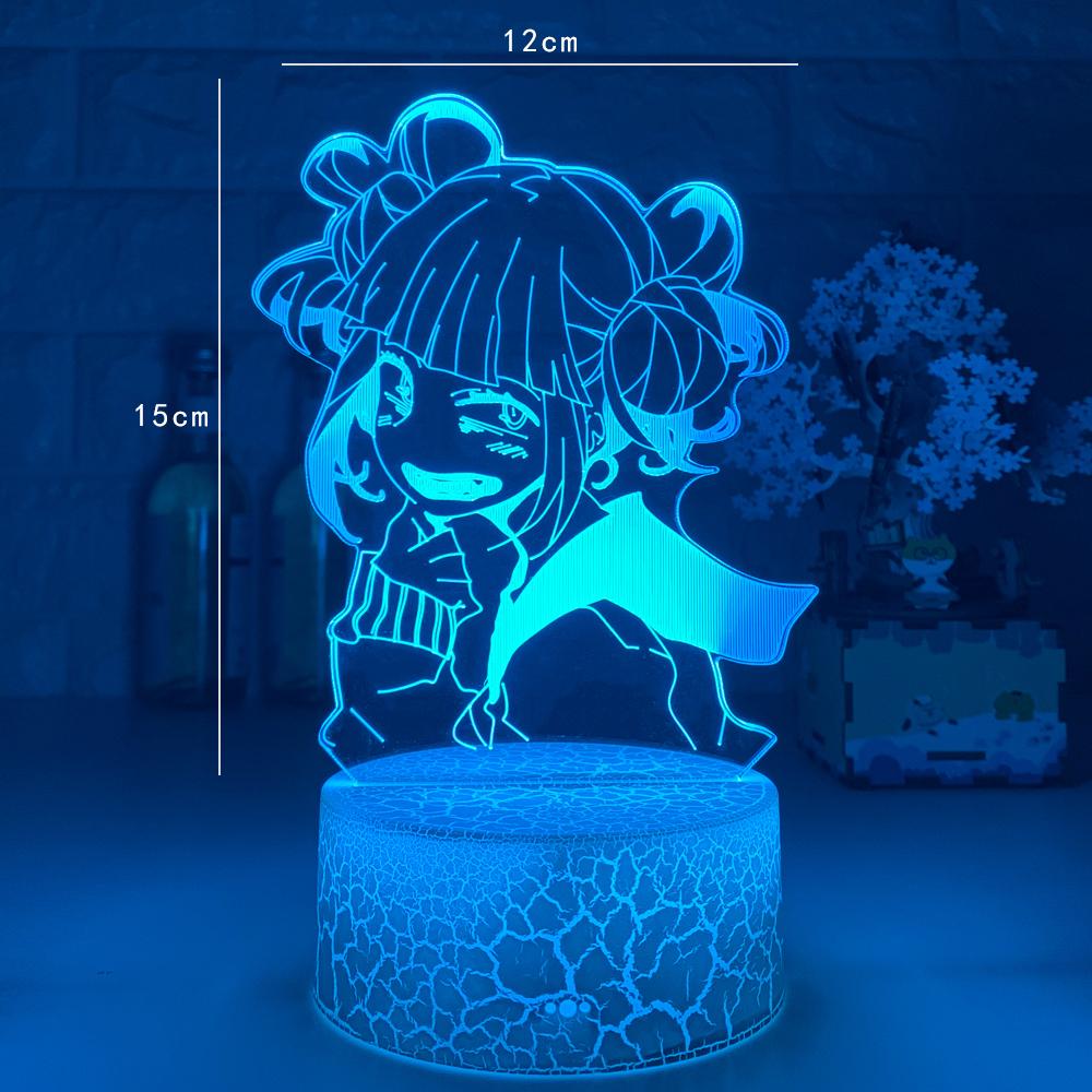 Newest MY HERO ACADEMIA Himiko Toga 3D ANIME LAMP Boku no Hero Academia Cross my body Night lights For Bedroom Decoration