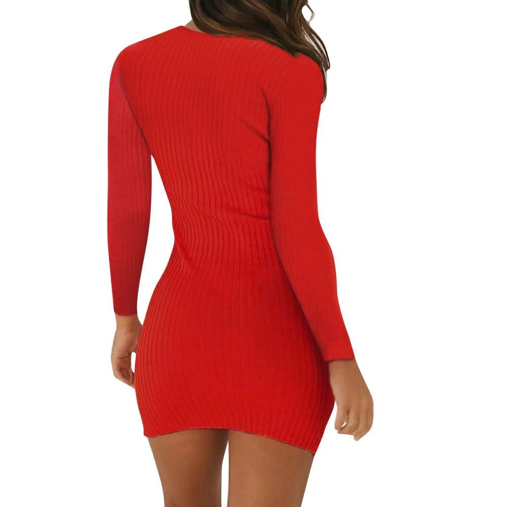 H15ec653460ba4154932686ab8f5cf03bn Women Pencil Bodycon Dress Spring Autumn Women Long Sleeve Solid Dresses Ladies Skinny Slim Knitted Stretch Short Dress Vestidos