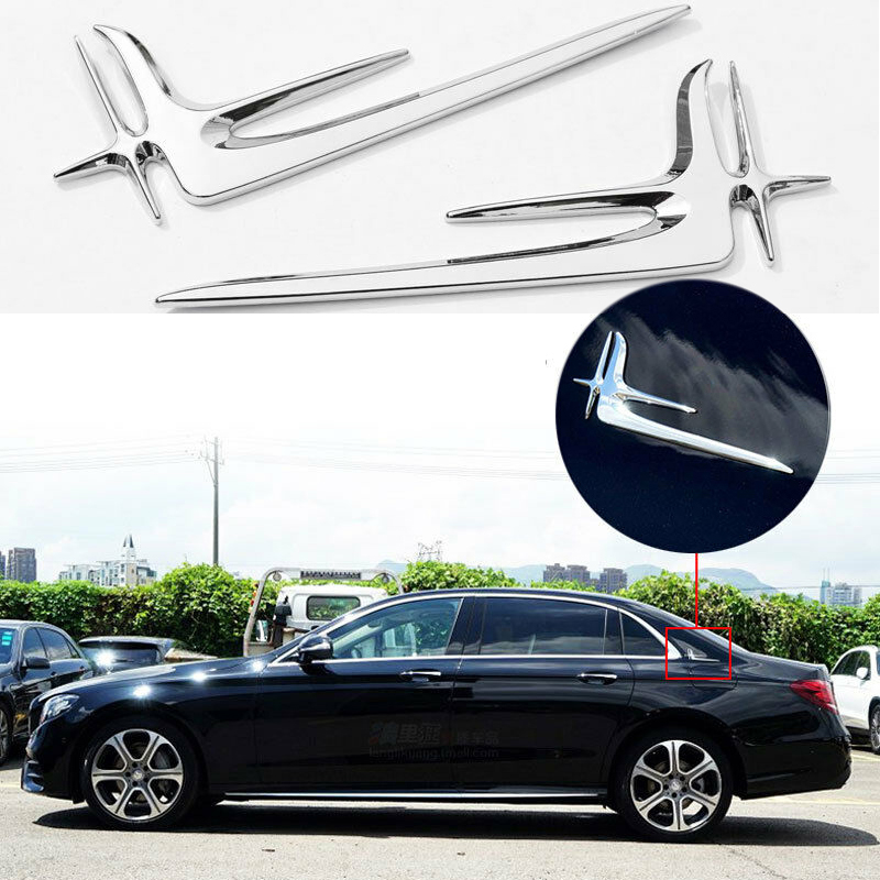2Pcs Set Kit Lengthened Standard Sticker Trim For <font><b>Mercedes</b></font> <font><b>Benz</b></font> E C Class W205 <font><b>W213</b></font> ABS Silver <font><b>Accessories</b></font> Durable Car Stickers image