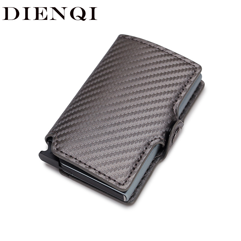 DIENQI 2020 Men Women Business Credit Card Holder Minimalist Wallet Metal RFID Aluminium Carbon Leather Travel Cardholder Spain