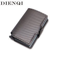 DIENQI 2020 Men Women Business Credit Card Holder Minimalist Wallet Metal RFID Aluminium Carbon Leather Travel Cardholder Spain(China)
