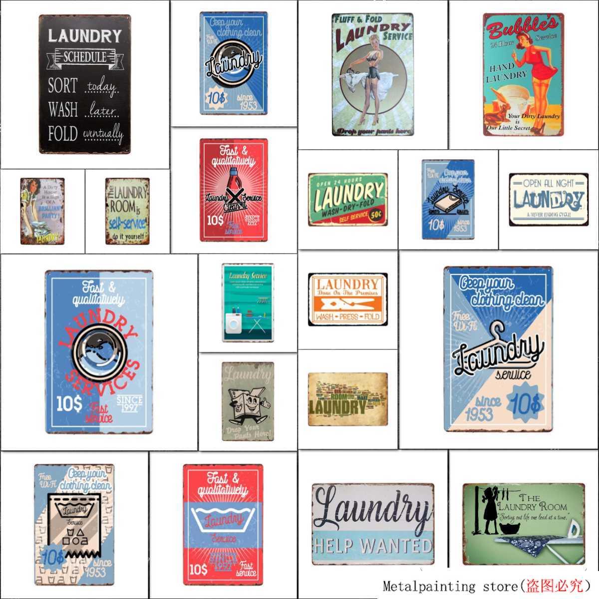 Plaque M/étallique R/étro Blanchisserie Signe Mur D/écor en M/étal Vintage Plaque Affiche Salle De Lavage Plaque De D/écoration 20X30Cm