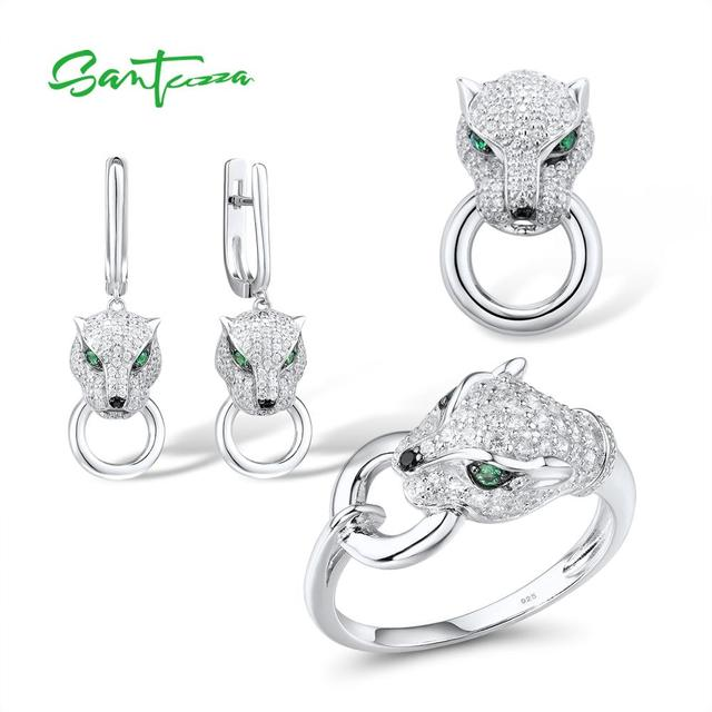 SANTUZZA Silver Jewelry Set For Women Pure 925 Sterling Silver Trendy Panther Ring Earrings Pendant Set White CZ Fashion Jewelry