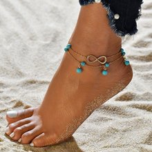 New Double Infinite Beads Summer Style Gold Silver Color Pendant Anklet Foot Chain For Woman Anklets Jewelry