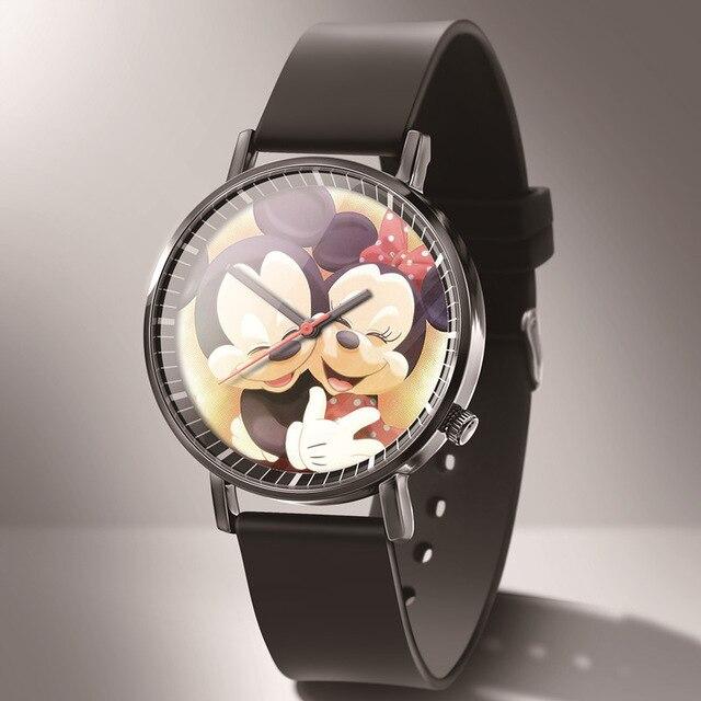 Reloj mujer New Микки женские часы мода высокое качество милый мультфильм часы девочка мальчик кожа студент часы Hodinky Relogios