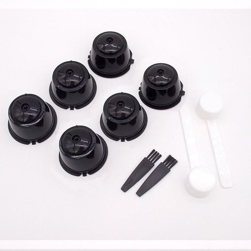 10 pçs/set cápsula de café reutilizável copo de filtro para dolce gusto casa cozinha recarregável tampa colher filtro de escova cesta filtro de café