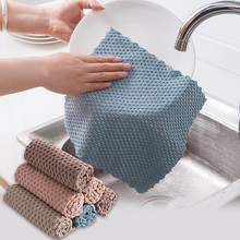 Kitchen Washing Cleaning Cloth Efficient Super Absorbent Anti-grease Wiping Rags Microfiber Kitchen Dish Cloth Cleaning Towel