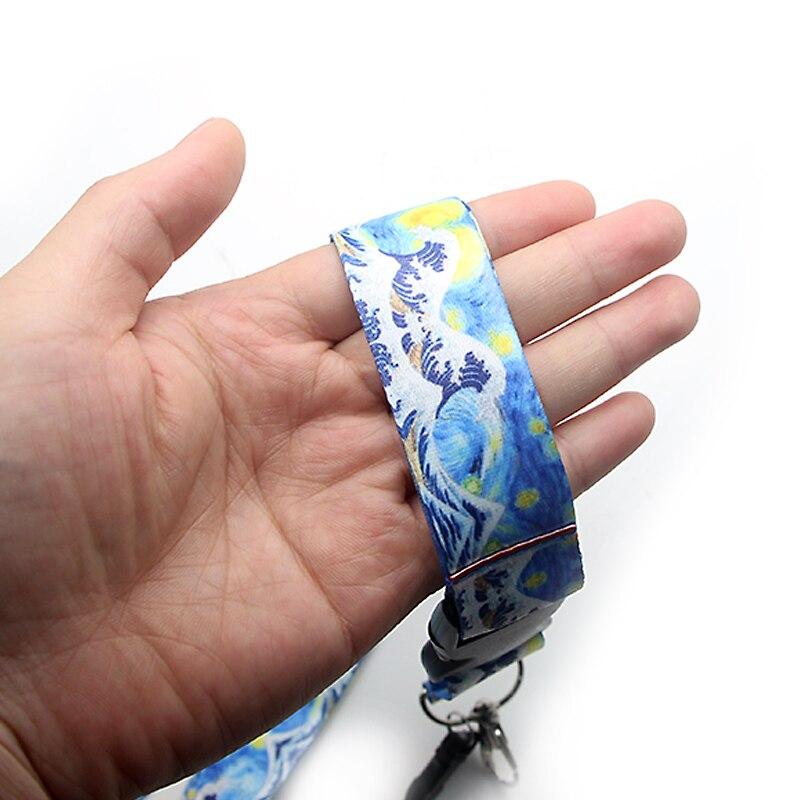 CA173 Ван Гог звездное небо канагава волна нашейные ремешки ключевой ремень для ключей телефона ID карты Мультяшные шнурки ювелирные изделия