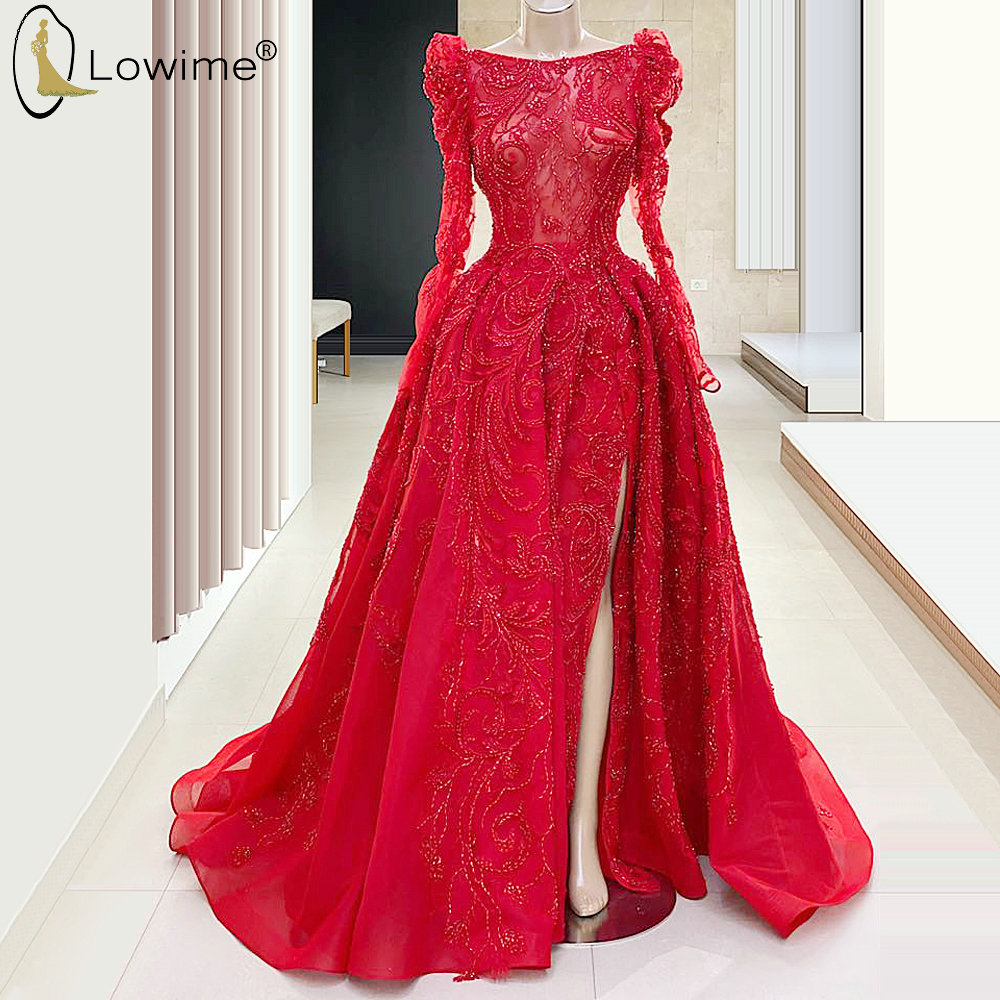 A Line Red Long Sleeve Beading Evening Dresses Muslim Dubai Side Split Floor Length Robe De Soiree Prom Party Gowns