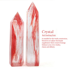 1PC Natural Crystal Specimen Quartz Smelting Stone Red Crystal Point Home Decoration Color Study Bedroom Healing Energy Stone