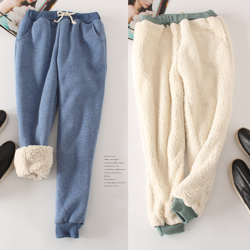 New Women Pant Winter Thick Lambskin Cashmere Pants Warm Female Casual Pants Loose Harlan Pants Long Trousers Plus Size