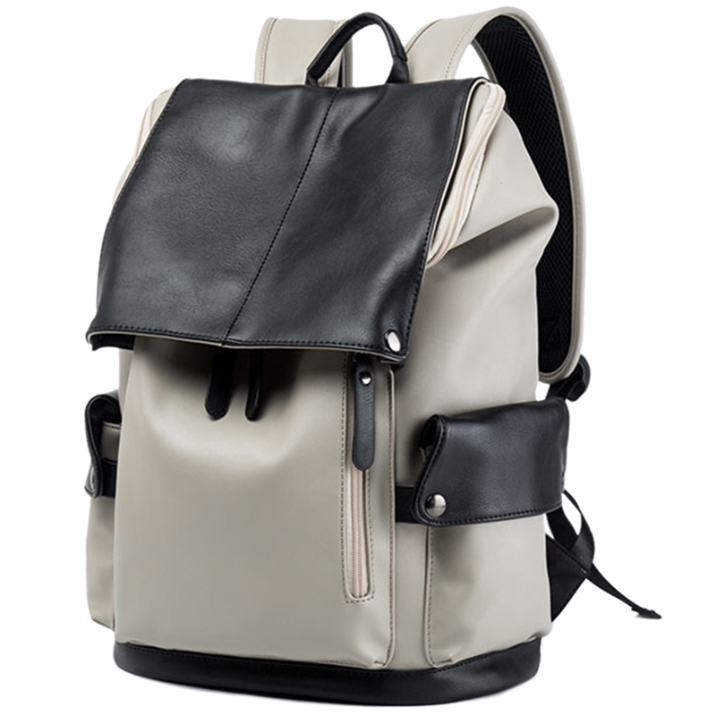 Laptop Backpack Men'S Pu Leather Backpack Casual Youth Large Capacity Travel Bag