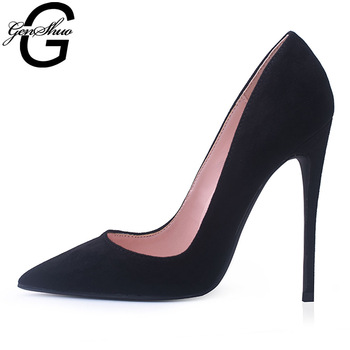 GENSHUO Pumps Women Shoes Flock Leather Slip-On Shallow Wedding Party Pointed Toe High Heels Pump Chaussures Femme Stiletto