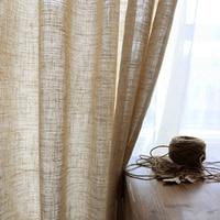 Cortina de lino moderna para sala de estar, cortinas de algodón y lino de color puro, telas de tul, gasa personalizada, hilo de ramio semisombreado