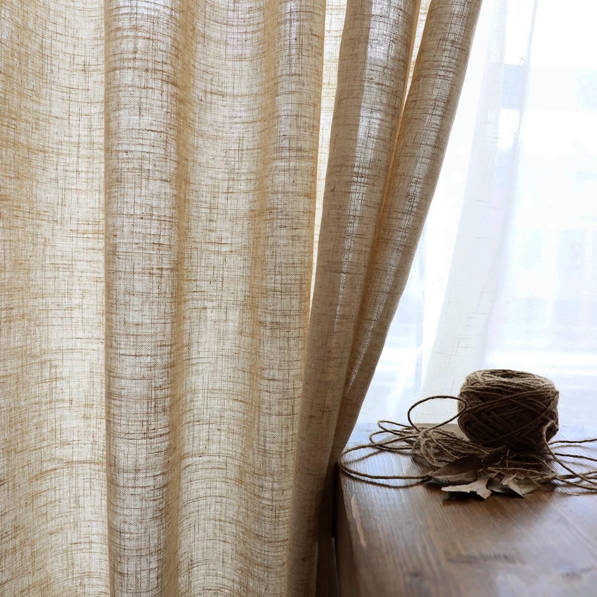 Modern Linen semi-shading ramie curtain Chinese Style Norse hemp yarn pure color cotton linen curtain custom gauze curtain yarn