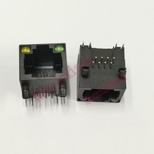 100ชิ้น/ล็อตพลาสติกสีดำRJ45 8P8Cแจ็คขั้วต่อLED PCB Mountเครือข่ายอินเทอร์เน็ตModular