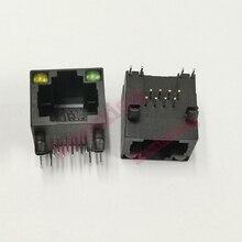 100 pçs/lote plástico preto rj45 8p8c jack conector com led pcb montagem rede internet modular