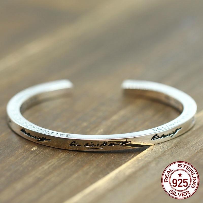 100% браслет из стерлингового серебра S925 пробы, индивидуальный простой модный стиль, властное открытие, стиль, отправка в подарок, ювелирные браслеты