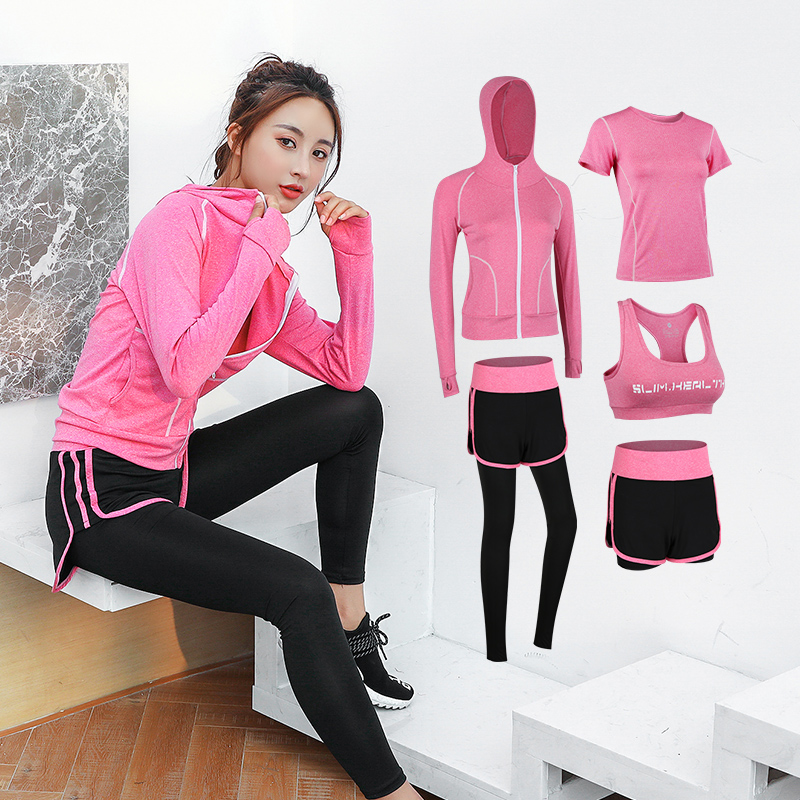 5 Piece Yoga Sets Gym High Elastic Sport Wear for Women Fast drying Running Fitness Sport Suit Ropa Deportiva Mujer Gym Clothing