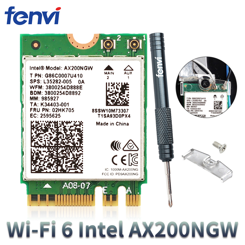 2400Mbps Dual Band 802.11ax <font><b>Intel</b></font> Wifi 6 AX200NGW M.<font><b>2</b></font> Wireless Wlan Wi-Fi Card Adapter For <font><b>Intel</b></font> <font><b>AX200</b></font> With BT 5.0 MU-MIMO image