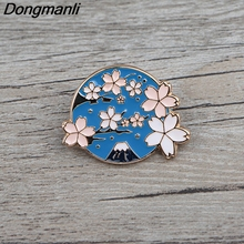 BG044 Dongmanli Cherry Blossoms Cute Enamel Pins and Brooches for Women Men Lapel Pin Backpack Bags Badges Gifts Jewelry sp044 viking rune hard enamel pins and brooches women men lapel pin backpack bags cartoon anime badges gifts punk jewelry