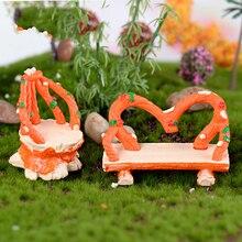 2 uds Silla de corona Vintage Miniatura jardín para casa de muñecas bonsái para el hogar Decoración juguete Miniatura Mini ornamentos resina artesanía Micro Decoración