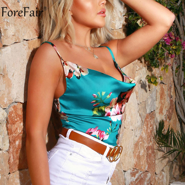 Forefair Spaghetti Strap Flower Print Top Satin Sexy Summer Party Women Cami Sleeveless Backless Fashion Ladies Clothes 8
