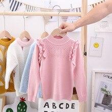 Свитера для девочек; сезон осень-зима; детские вязаные однотонные свитеры; жаккардовый пуловер; Повседневные детские топы; Одежда для маленьких девочек; свитер