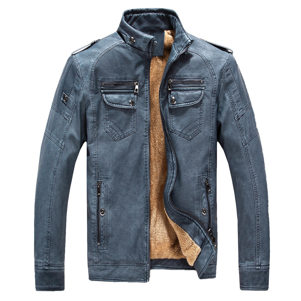 Winter Men's Leather Jacket Monclair Leather Windbreaker Nationalday Man Oatvelvet Washed Genuine Leather Jacket For Men 8818