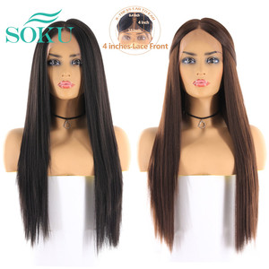 Image 4 - Synthetic Lace Front Wigs Long Yaki Straight Middle Part Lace Wig SOKU Glueless Heat Resistant Fiber Lace Wigs For Black Women