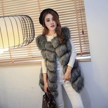 SWYIVY Winter Sleeveless Vest Fur Womens Coat Faux 4XL Fox Luxury Warm Women Vests Coats 2019 Gray Furry Jacket Lady