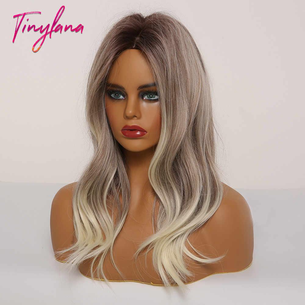 Perucas de cabelo sintético ombre preto marrom cinza loira para africano-americano feminino médio parte cosplay