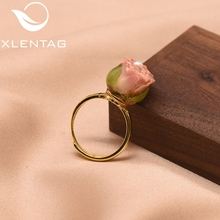 XlentAg 925 Sterling Silver Natural Pearl Adjustable Really Flower Ring For Women Daughter Gift Fine Jewellery Anillos GR0225