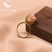 XlentAg 925 srebro naturalne perła regulowany naprawdę kwiat pierścień dla kobiet córka prezent grzywny biżuteria Anillos GR0225