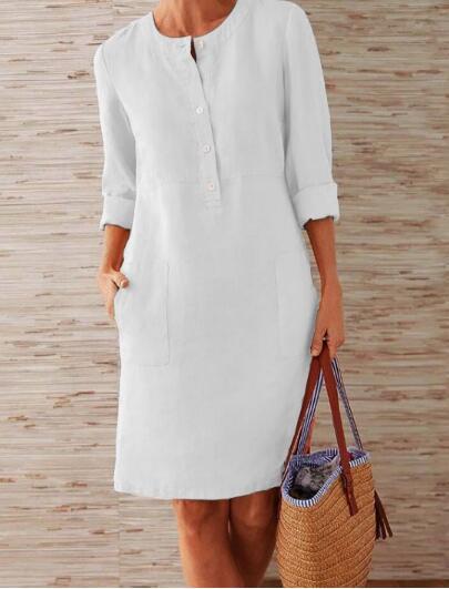 1 piece Cotton Linen three quarter sleeve female straight Midi Single Breasted Comfortable dresses for women платье летнее 1